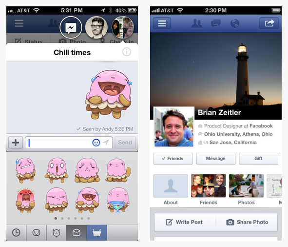Aplicatie facebook iphone